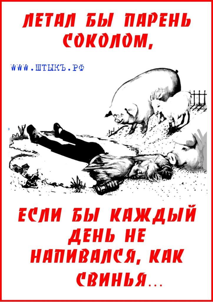 Карикатура: пьяный в луже