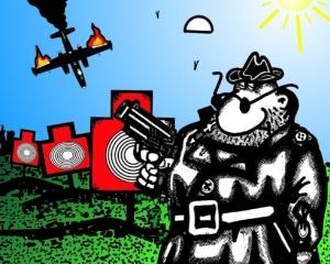Карикатура про стрелка и самолет