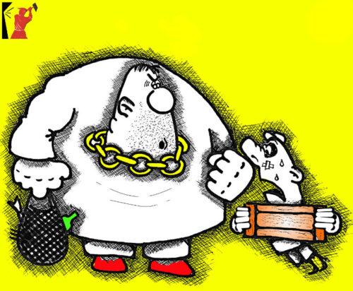 Анекдот с карикатурой про амбала
