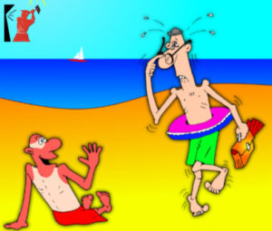 Смешной анекдот с карикатурой про море