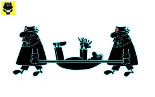 Карикатура-Анекдот про санитаров и больного без бирки