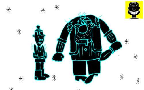 Карикатура. Анекдот про амбала и соседа