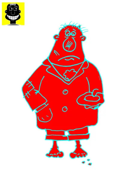 Карикатура. Анекдот про генерала-миллионера и лейтенанта-бомжа