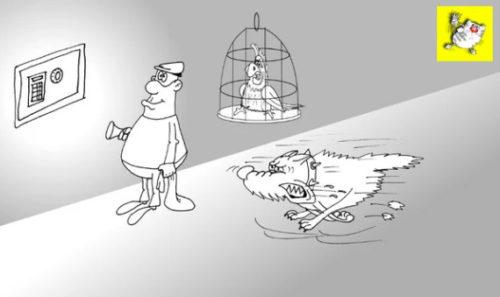 Бородатый анекдот про птичку . Карикатура