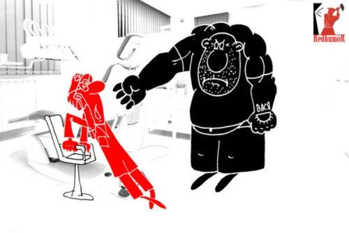 Приколы в картинках: Про крепкие зубы. Карикатура