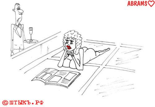 Анекдот о запрете Ню-загорания для женщин в Америке...Карикатура