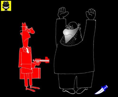 Анекдот про гопоту и страхи черного Гарлема. Карикатура