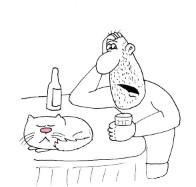 Короткие анекдоты в карикатурах: Психиатр для кота. Миниатюра