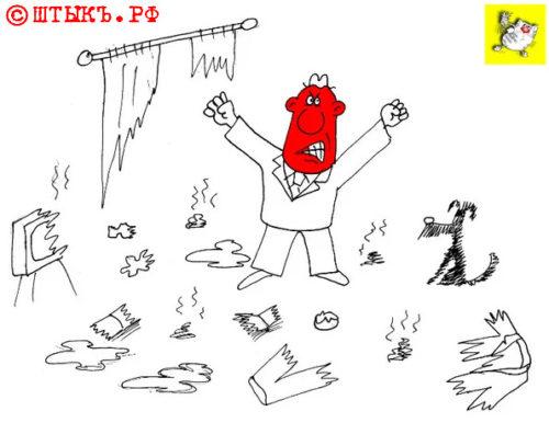 Прикольные анекдоты про животных: Улет к звездам. Карикатура