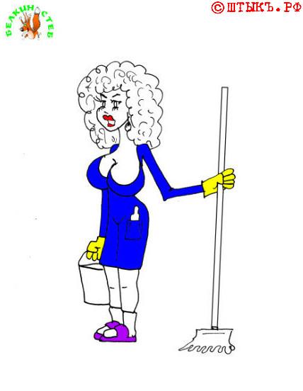 Девушка в ресторане. Карикатура