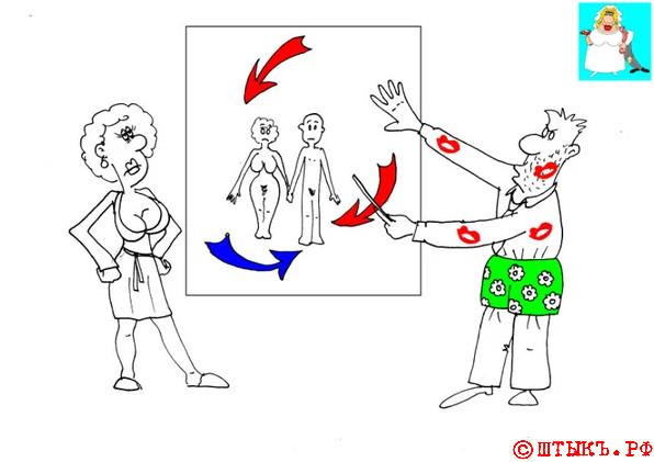 Анекдоты про мужчин и женщин: Я на тебе - как на фронтЕ. Карикатура