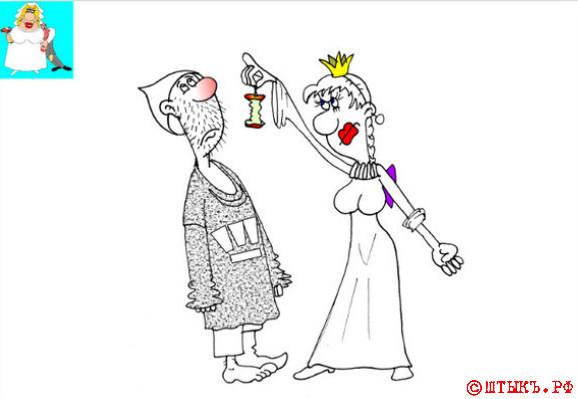 Анекдот про мужа и наивную жену. Карикатура