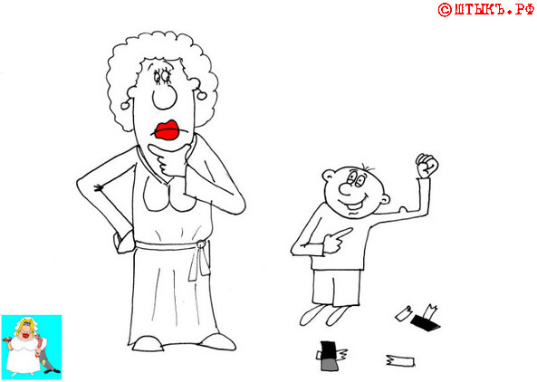 Прикольный анекдот про сильного сына. Карикатура