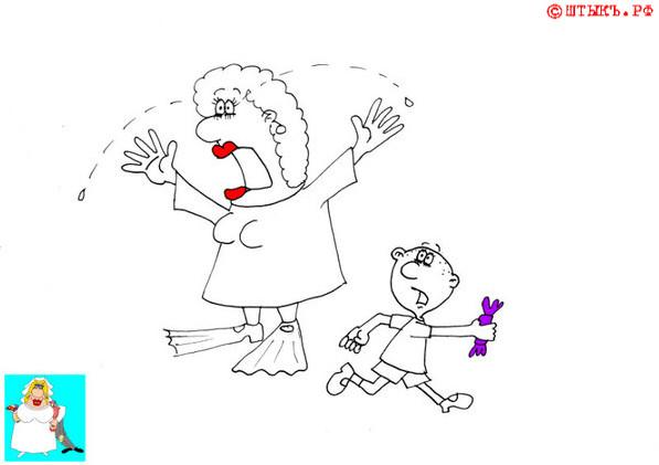 Анекдот про тетеньку в ластах на празднике. Карикатура