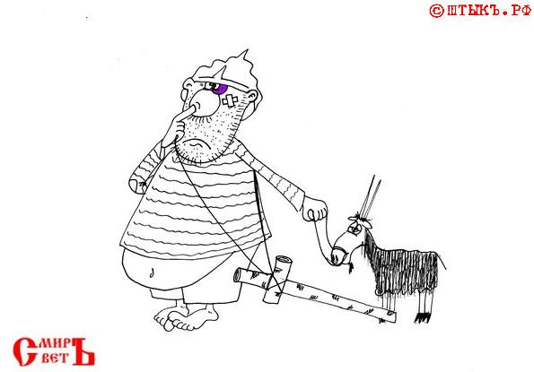 Анекдот про богатыря . Карикатура
