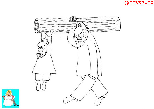 Анекдот про мужа и жену. Карикатура