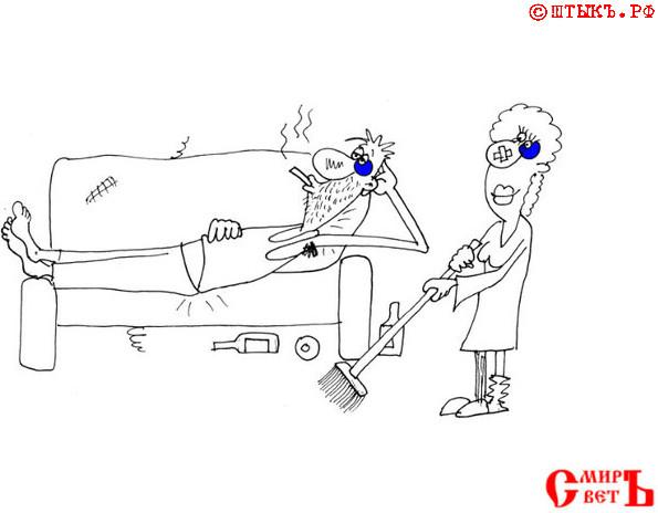 Поучительный анекдот: Эх, не получить бы стресс. Карикатура