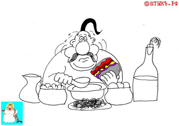 Самый свежий анекдот о вкусной и здоровой пище. Карикатура