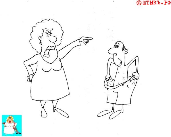 Веселая история про жену. карикатура