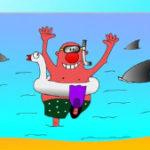 Семейный анекдот про жадного папу и акул. Миниатюра