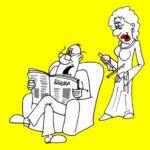 Анекдот про семью: Жена мурлыкала кошкой. Карикатура