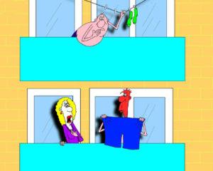 Про соседа и семью. Карикатура к анекдоту
