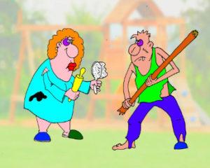 Анекдот про мужа, жену и мать ее, тещу. Карикатура