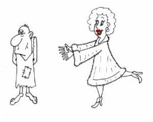 Жизненный анекдот про жену. Карикатура