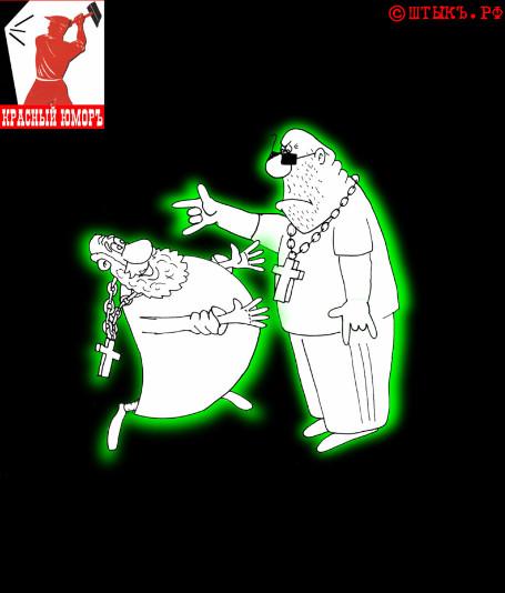 После службы к священнику подходит амбал. Карикатура